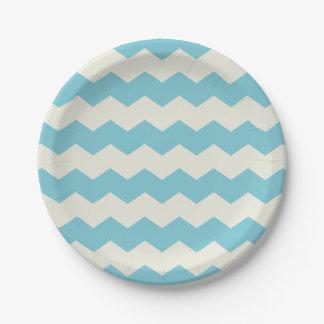 Tropical Blue White Sand Chevron Paper Plate