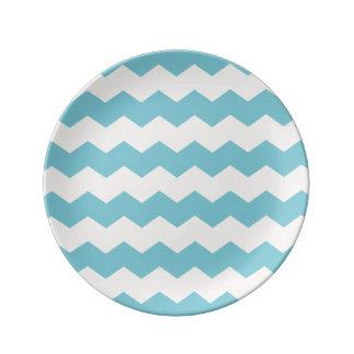 Tropical Blue White Sand Chevron Plate