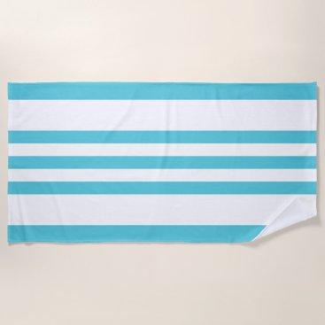 Beach Themed Tropical Blue & White Stripes Beach Towel