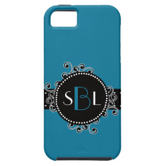 Tropical Blue with Fancy Swirl Girly Tag iPhone 5 Covers