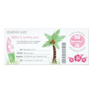 "Tropical Boarding Pass Birthday Invitation 4"" X 9.25"" Invitation Card"