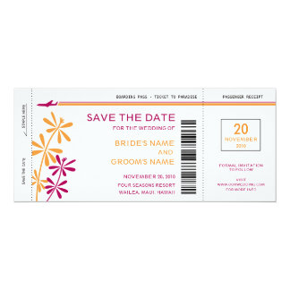 Tropical Boarding Pass Save the Date Invitations