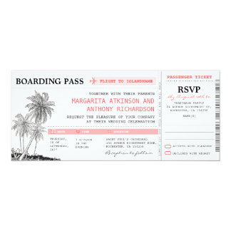 tropical boarding pass wedding tickets with RSVP Card