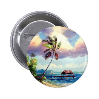 Tropical Boat house Pinback Buttons