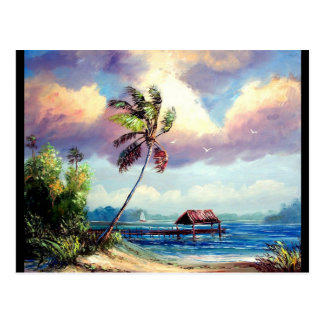 Tropical Boat house Postcard