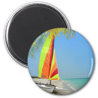 Tropical boat in the Caribbean 2 Inch Round Magnet