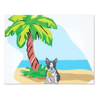 Tropical Boston Terrier Card