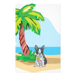 Tropical Boston Terrier Personalized Stationery