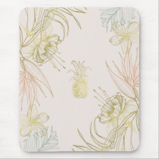 Tropical Botanical Floral Leaves Gold Pineapple Mouse Pad