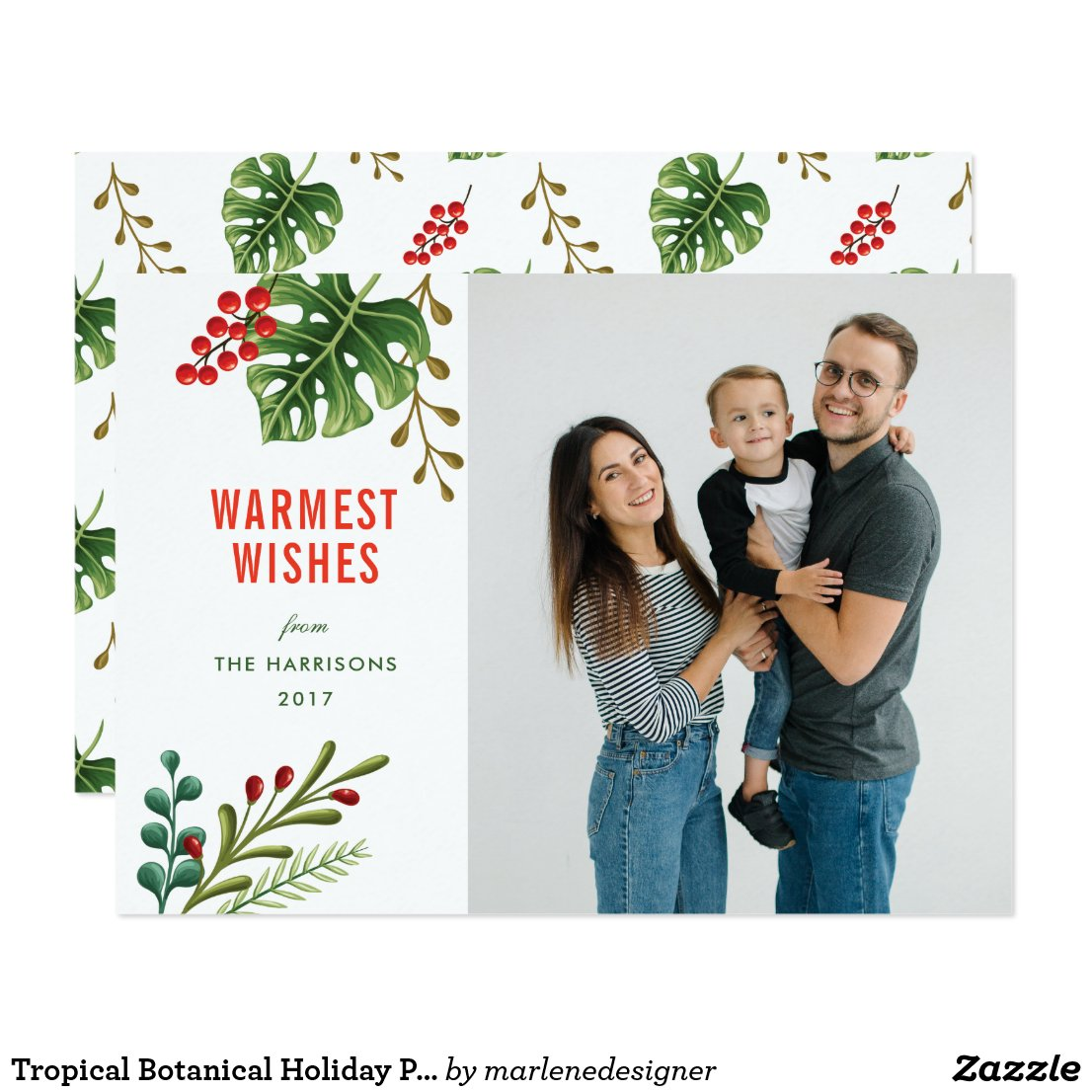Tropical Botanical Holiday Photo Card