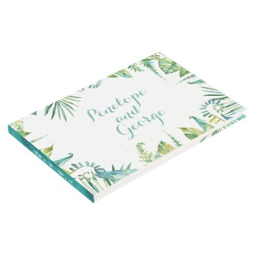Beach Themed Tropical Botanical Watercolor Wedding Guestbook