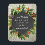 "Tropical Botanical White Brick Wedding Magnet<br><div class=""desc"">A wedding save the date magnet featuring a tropical botanical design with a chalkboard geometric design over a white brick background.</div>"