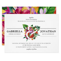 Tropical Bouquet & Modern Typography | Wedding Invitation