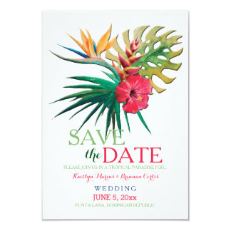 Tropical Bouquet Save The Date Announcement