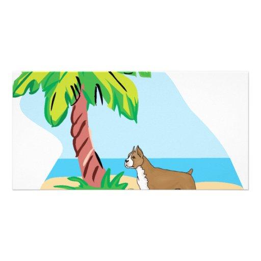 tropical boxer photo cards