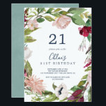 "Tropical Breeze 21st Birthday Invitation<br><div class=""desc"">This tropical breeze 21st birthday invitation is perfect for an elegant spring or summer birthday party. The floral design features red,  burgundy,  blush pink and white flowers on a wreath of watercolor tropical greenery with a relaxed Hawaiian feel.</div>"