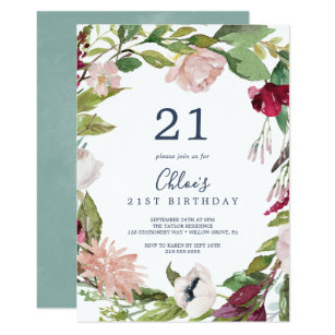 Tropical Breeze 21st Birthday Invitation