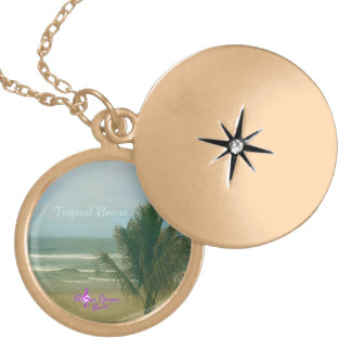 Tropical Breeze Gold Finish Round Locket