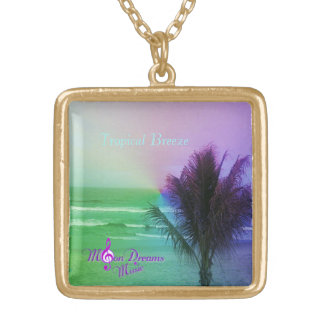 Tropical Breeze Gold Finish Square Necklace