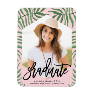 Tropical Breeze Graduation Photo Magnet in Pink