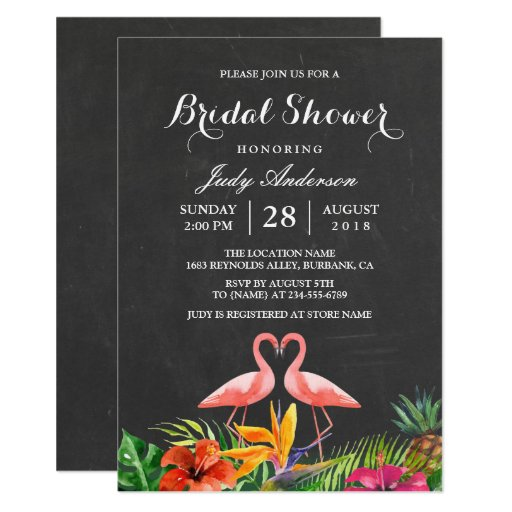 Tropical Bridal Shower Floral Chalkboard Flamingo Card