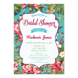 Tropical Bridal Shower Invitation Luau Floral