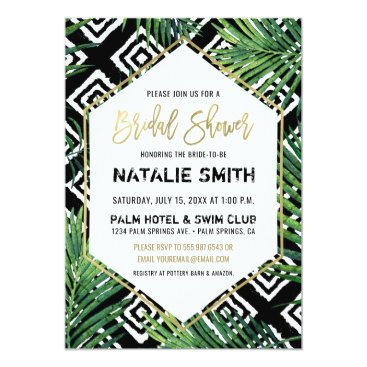 Beach Themed Tropical Bridal Shower Invitation Palm Fronds Gold