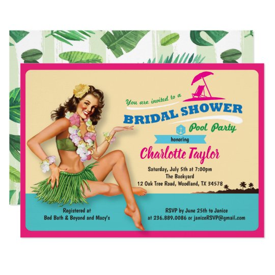 Tropical bridal shower invitation pool party zazzle tropical bridal shower invitation pool party filmwisefo