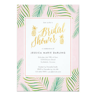 Tropical Bridal Shower Invitations in Pink & Gold