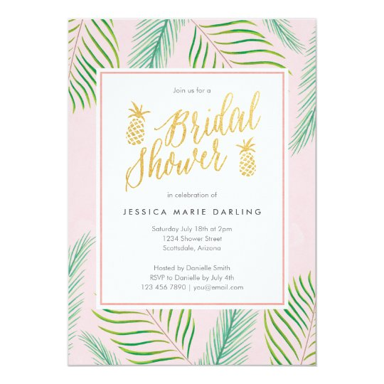 Tropical bridal shower invitations in pink gold zazzle tropical bridal shower invitations in pink gold filmwisefo