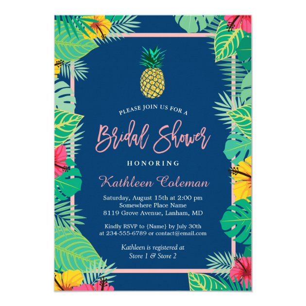 Tropical Bridal Shower | Navy Blue Gold Pineapple Card