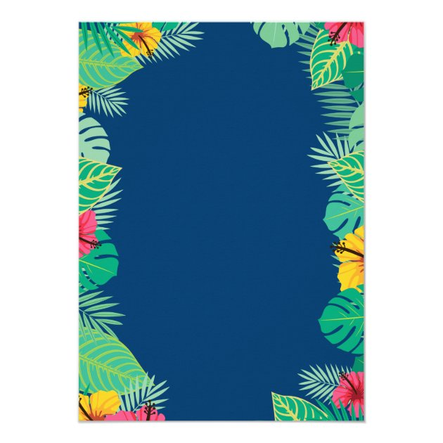 Tropical Bridal Shower | Navy Blue Gold Pineapple Card (back side)