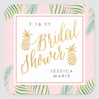 Tropical Bridal Shower Personalized Favor Stickers