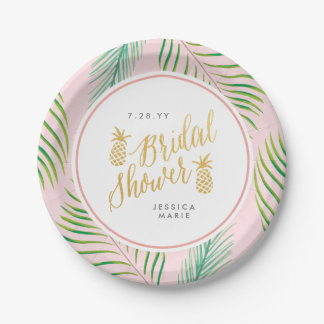 Tropical Bridal Shower Personalized Paper Plates