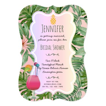 Beach Themed Tropical BRIDAL SHOWER Pineapple Palm Leaves PINK Card