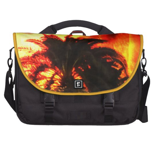 Tropical Bright Fiery Volcano Eruption Palm Tree Commuter Bags