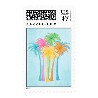Tropical Bright Palm Trees Summer Vacation Postage