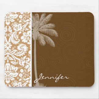 Tropical Brown Damask Pattern Mouse Pad