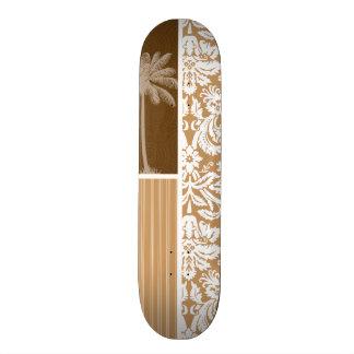 Tropical Brown Damask Pattern Skateboards