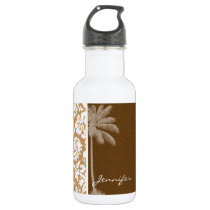 Tropical Brown Damask Pattern Stainless Steel Water Bottle