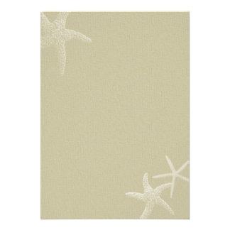 Tropical Burlap Starfish Wedding Fan Program Paper Personalized Announcement