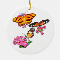 Tropical Butterflies Ceramic Ornament