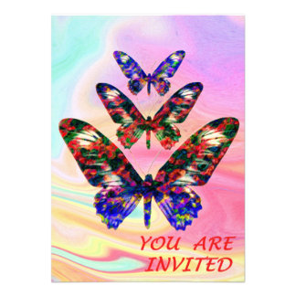 Tropical butterflies party/wedding invitation card