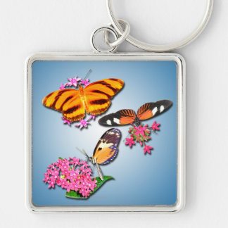 Tropical Butterflies Silver-Colored Square Keychain