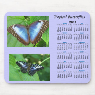 Tropical Butterfly Calendar Mouse Pad
