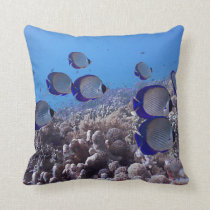 Tropical Butterfly Fish Throw Pillow