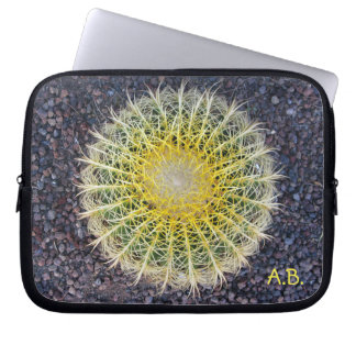 Tropical Cactus Gravel Green Yellow any Initials Computer Sleeve