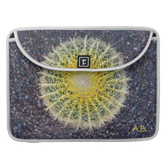 Tropical Cactus Gravel Green Yellow any Initials Sleeve For MacBooks