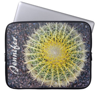 Tropical Cactus on Gravel Green Yellow any Name Laptop Sleeve