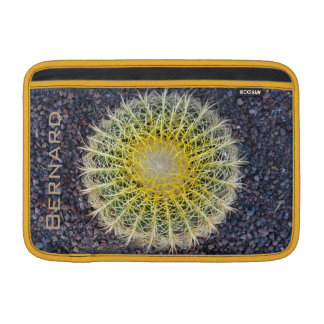 Tropical Cactus on Gravel Green Yellow any Name MacBook Sleeve